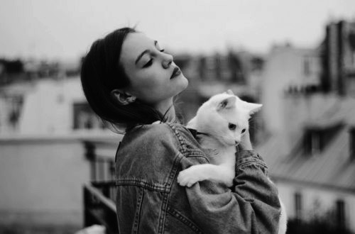 Woman and cat, tumblr